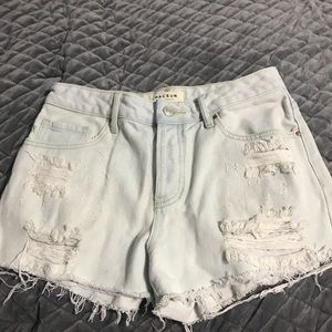 Light wash jeans shorts.